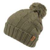 12 Units of HEAVY KNIT BEANIE IN OLIVE WITH POM POM & SHERPA LINING