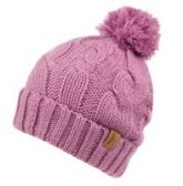 12 Units of HEAVY KNIT BEANIE IN LAVENDER WITH POM POM & SHERPA LINING