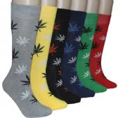 288 Units of Men's Marijuana Leaf Print Crew Socks