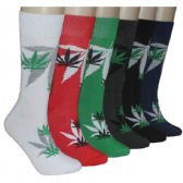 288 Units of Men's Leaf Print Crew Socks