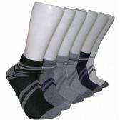 480 Units of Men's Racer Stripe Low Cut Ankle Socks In Gray & Black - Mens Ankle Sock