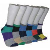 480 Units of Men's Block Stripe Low Cut Ankle Socks - Mens Ankle Sock