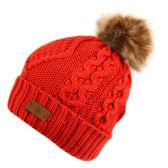 12 Units of KNIT BEANIE HAT WITH POM POM IN RED