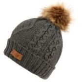 12 Units of KNIT BEANIE HAT WITH POM POM IN CHARCOAL