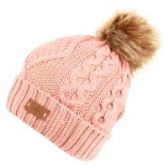 12 Units of KNIT BEANIE HAT WITH POM POM IN INDI PINK