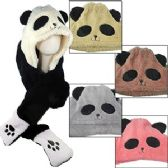 12 Units of FLEECE PANDA BEAR HATS W/ ATTACHED SCARF & MITTENS - Winter Animal Hats