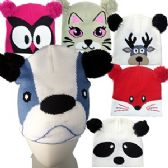 36 Units of PLUSH KINIT ANIMAL WATCH CAPS. - Winter Animal Hats