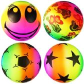 120 Units of INFLATABLE RAINBOW BOUNCY BALLS.