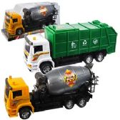 24 Units of FRICTION POWERED TRASH & CEMENT TRUCKS
