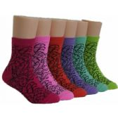 480 Units of Girls Patterned Crew Socks