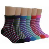 480 Units of Girls Striped Crew Socks