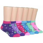 480 Units of Girls Heart Print Low Cut Ankle Socks