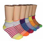 480 Units of Girls Sriped Low Cut Ankle Socks