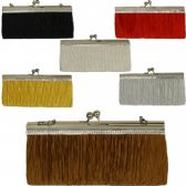 48 Units of LARGE EVENING BAGS W/STONES (PLEATED ASST COLORS)