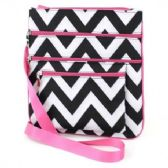 60 Units of LARGE CROSS BODY BAG CHEVRON BLACK