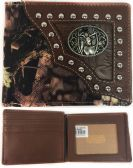 12 Units of Men Wallet Camo Print with Deer Brown - Leather Purses and Handbags
