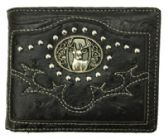 12 Units of Black Deer Head Studed Bi Fold Wallet - Leather Purses and Handbags
