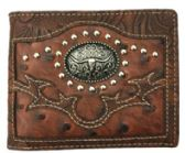 12 Units of Brown Long Horn Studded Bi Fold Wallet - Leather Purses and Handbags