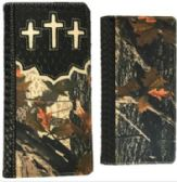 12 Units of Black camouflage Wallet with triple crosses - Leather Purses and Handbags