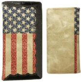 12 Units of Vintage Look American Flag Black Trim Long Wallet - Leather Purses and Handbags
