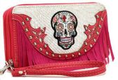 12 Units of Rhinestone Sugar Skull Wallet Fringes with Strap Fuchsi - Leather Purses and Handbags