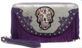 12 Units of Rhinestone Sugar Skull Wallet Fringes with Strap Purple - Leather Purses and Handbags