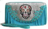 12 Units of Rhinestone Sugar Skull Wallet Fringes with Strap Turq - Leather Purses and Handbags