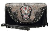 12 Units of Rhinestone Sugar Skull Wallet Fringes with Strap Black - Leather Purses and Handbags