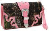 12 Units of Rhinestone Buckle Camo Wallet Wrist Strap Pink - Leather Purses and Handbags