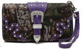 12 Units of Rhinestone Buckle Camo Wallet Wrist Strap Purple - Leather Purses and Handbags