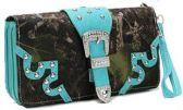12 Units of Rhinestone Buckle Camo Wallet Wrist Strap Turquoise - Leather Purses and Handbags