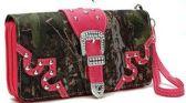 12 Units of Rhinestone Buckle Camo Wallet Wrist Strap Fuchsia - Leather Purses and Handbags