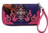12 Units of Turquoise Cross Center Rhinestone Wallet Purple Camo - Leather Purses and Handbags