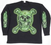 12 Units of Black T Shirt Skull and Bones with Leaf LONG SLEEVES