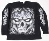 12 Units of Black T Shirt Large Skull Long Sleeve Shirts