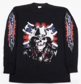 12 Units of Black Long Sleeve Shirt Cowboy Skull with Rebel Flag