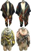 12 Units of Large Blanket Scarves Wrap Assorted Color Plain Print - Winter Pashminas and Ponchos