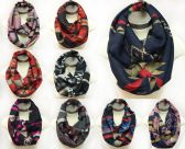 24 Units of Infinity Circle Scarves Geometric Patterns Assorted - Winter Pashminas and Ponchos