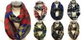 24 Units of Infinity Circle Scarves Houndstooth Pattern Assorted