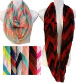 36 Units of Light Weight Infinity Scarves Tri-Color Chevron Print