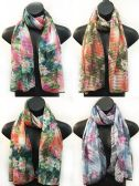 24 Units of Sectional Scarves with Multicolor Lotus Flower Print