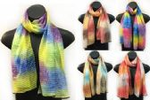 24 Units of Sectional Scarves with Multicolor Tie Dye Print