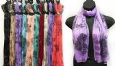 48 Units of Light Weight Scarves Larger Size Black Peony Print