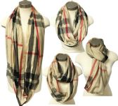 24 Units of Infinity Circle Scarf with Tan Color Plaid Print - Womens Fashion Scarves