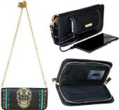4 Units of Montana West Phone Charging Sugar Skull Collection Clutch Black