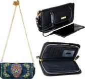 4 Units of Montana West Phone Charging Sugar Skull Collection Clutch NAVY