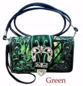 6 Units of Rhinestone Wallet Purse Buckle Camo Green - Leather Purses and Handbags