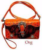 6 Units of Rhinestone Wallet Purse Buckle Camo Orange - Leather Purses and Handbags