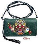 6 Units of Sugar Skull design Wallet Purse Long Strap Olive - Leather Purses and Handbags