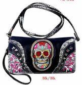 6 Units of Black Sugar Skull Wallet Purse - Leather Purses and Handbags